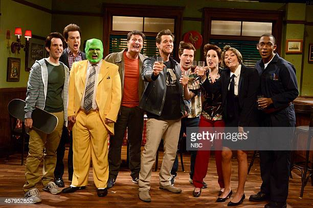 LIVE Jim Carrey Episode 1666 Pictured Kyle Mooney as Percy Carrey Taran Killam as Jay Carrey Bobby Moynihan as Cousin Wayne Jeff Daniels as Grandpa...