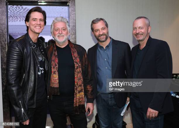 Jim Carrey Founder of Just For Laughs Gilbert Rozon Judd Apatow and COO of Just For Laughs Bruce Hills attend the Just For Laughs Comedy Festival...