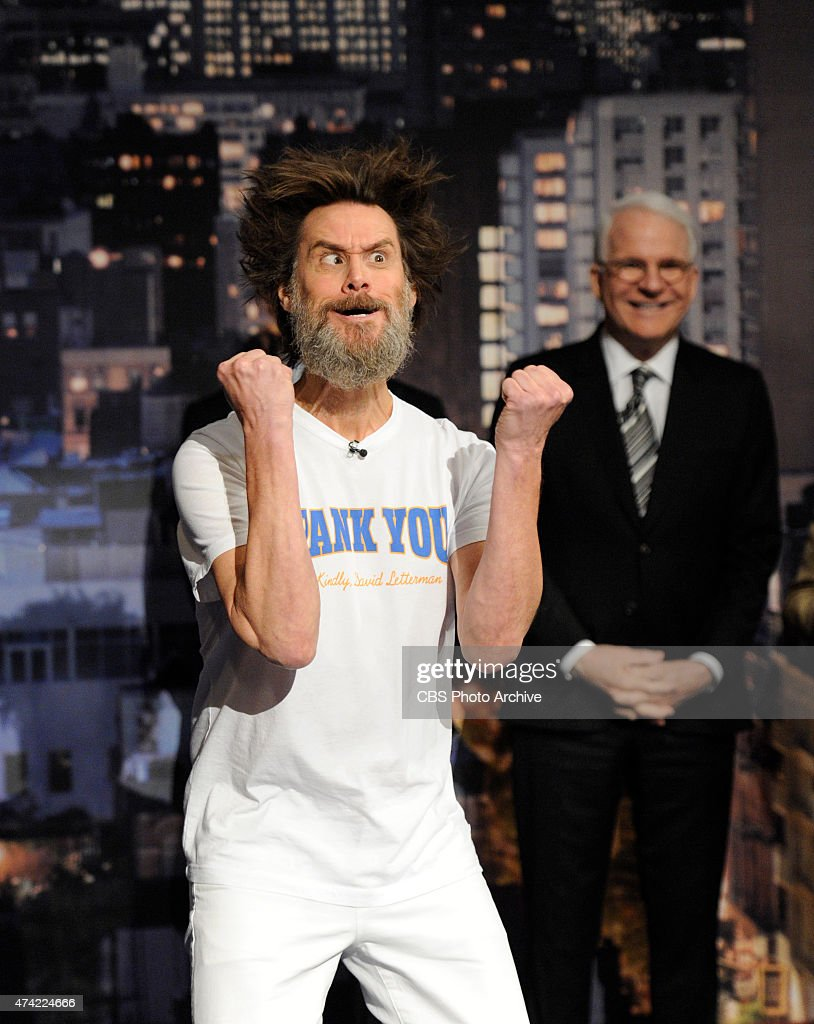 Jim Carrey helps present the Top Ten List on the final broadcast of the Late Show with David Letterman, Wednesday May 20, 2015 on the CBS Television Network. After 33 years in late night television, 6,028 broadcasts, nearly 20,000 total guest appearances, 16 Emmy Awards and more than 4,600 career Top Ten Lists, David Letterman says goodbye to late night television audiences. The show was taped Wednesday at the Ed Sullivan Theater in New York.