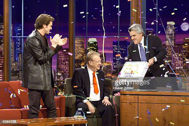 Jim Carrey helps Rodney Dangerfield celebrate his 80th birthday on 'The Tonight Show with Jay Leno' at the NBC Studios in Los Angeles Ca Wednesday...
