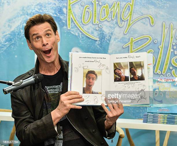 """Jim Carrey hosts a signing for his children's book """"How Roland Rolls"""" At Indigo At Yorkdale Mall on October 6, 2013 in Toronto, Canada."""