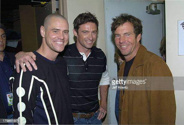 Jim Carrey Hugh Jackman and Dennis Quaid during Nickelodeon's 17th Annual Kids' Choice Awards Backstage at Pauley Pavillion in Westwood California...