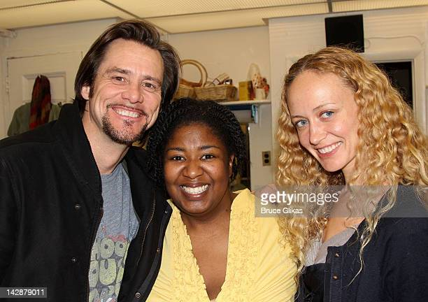 Jim Carrey NaTasha Yvette Williams and Anastasia Vitkina pose backstage at the hit musical Porgy and Bess on Broadway at The Richard Rogers Theater...