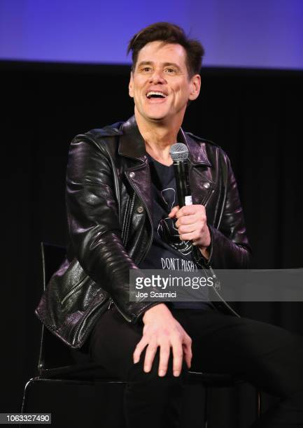 Jim Carrey speaks onstage during 'Jim Carrey In Conversation with Jerry Saltz' during Vulture Festival Presented By ATT at Hollywood Roosevelt Hotel...