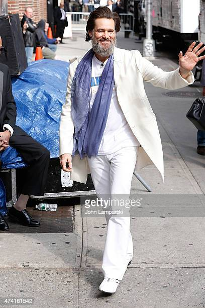 Jim Carrey visits 'Late Show With David Letterman' May 20 2015 at Ed Sullivan Theater on May 20 2015 in New York City