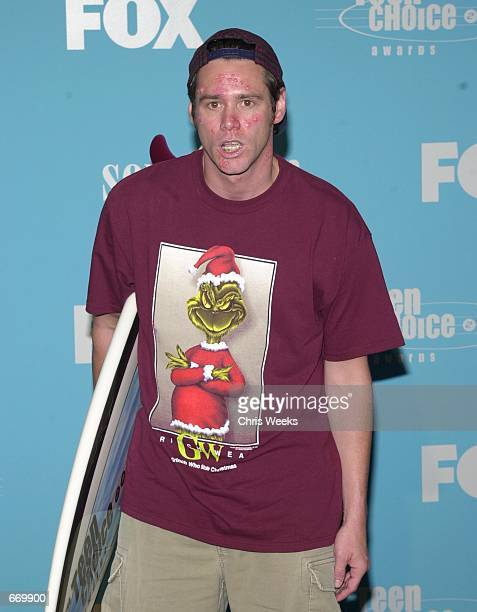 Jim Carrey winner of 'Wipeout of the Summer Movie' attends August 6 at the '2000 Teen Choice Awards' in Santa Monica CA