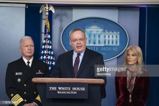 Jim Carroll acting director of US Office of National Drug Control Policy center speaks during a news conference in the briefing room of the White...
