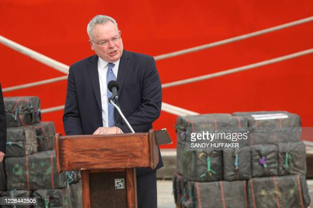 Jim Carroll Director of National Drug Control Policy speaks during a press conference in front of the Cutter Bertholf on September 10 2020 in San...