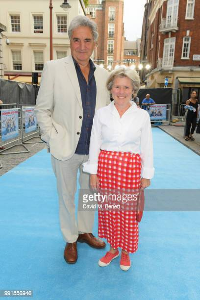 """Jim Carter and Imelda Staunton attend the UK Premiere of """"Swimming With Men' at The Curzon Mayfair on July 4, 2018 in London, England."""