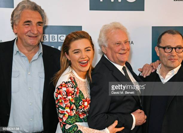 Jim Carter Florence Pugh Sir Richard Eyre and Colin Callender attend a special screening of new BBC Two drama 'King Lear' at The Soho Hotel on March...