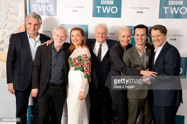 Jim Carter Karl Johnson Florence Pugh director Richard Eyre Emma Thompson Andrew Scott and Anthony Calf attend a screening of King Lear at Soho Hotel...