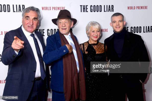 Jim Carter Sir Ian McKellan Dame Helen Mirren and Russell Tovey attend The Good Liar World Premiere at BFI Southbank on October 28 2019 in London...