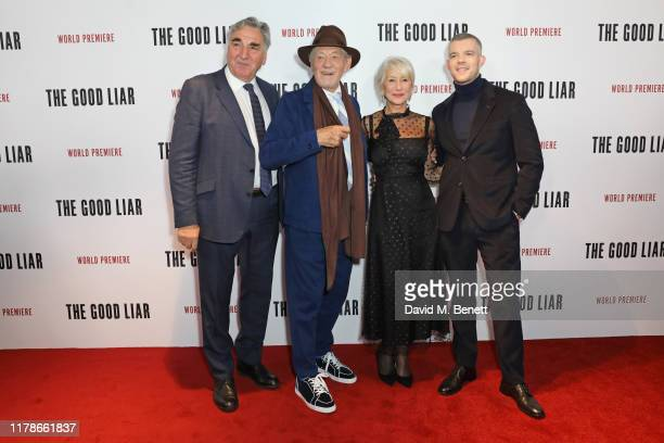 Jim Carter Sir Ian McKellen Dame Helen Mirren and Russell Tovey attend the World Premiere of The Good Liar at the BFI Southbank on October 28 2019 in...