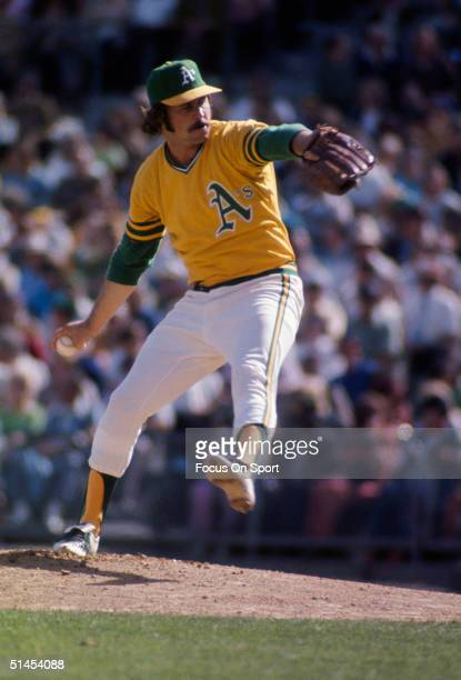 Jim 'Catfish' Hunter of the Oakland Athletics pitches against the New York Mets during the World Series at OaklandAlameda County Coliseum in Oakland...
