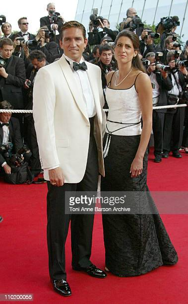 Jim Caviezel and guest during 2004 Cannes Film Festival 'Shrek 2' Premiere at Palais Du Festival in Cannes France