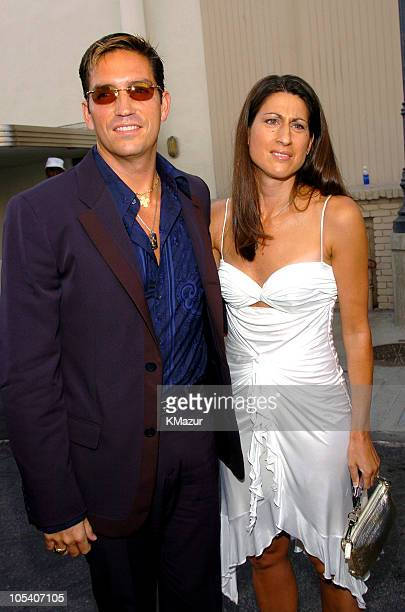 Jim Caviezel and Kerri Caviezel during MTV Movie Awards 2004 Backstage and Audience at Sony Pictures Studios in Culver City California United States