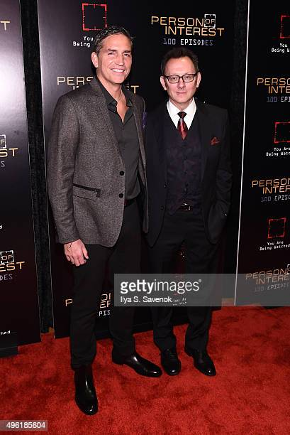 Jim Caviezel and Michael Emerson attends 'Person Of Interest' 100th Episode Celebration at 230 Fifth Avenue on November 7 2015 in New York City