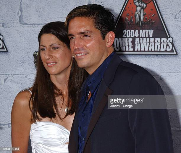 Jim Caviezel and wife Kerri Browitt during MTV Movie Awards 2004 - Arrivals at Sony Pictures Studios in Culver City, California, United States.