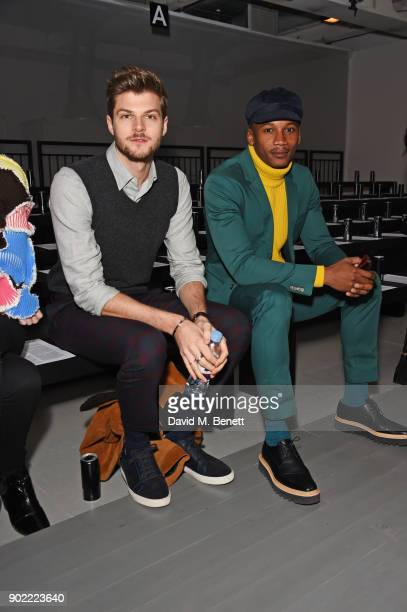 Jim Chapman and Eric Underwood attend the Christopher Raeburn show during London Fashion Week Men's January 2018 at BFC Show Space on January 7 2018...