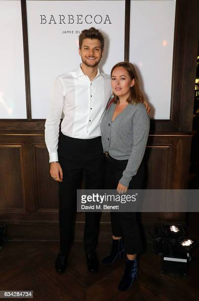 Jim Chapman and Tanya Burr attend Jamie Oliver's new Barbecoa restaurant a classic steakhouse reimagined in the heart of Piccadilly on February 8...
