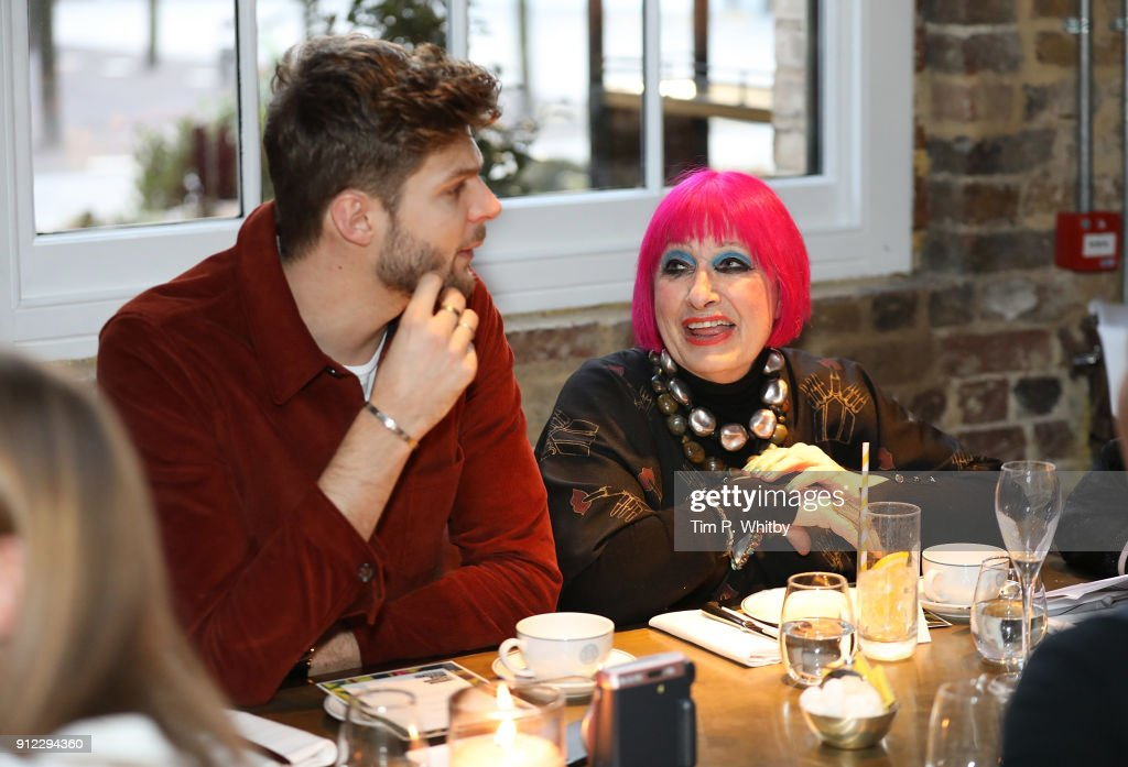 Jim Chapman and Zandra Rhodes attend an afternoon tea event to discuss the upcoming London Fashion Week Festival at Granary Square Brasserie on January 30, 2018 in London, England. London Fashion Week Festival runs from 22nd - 25th February 2018.