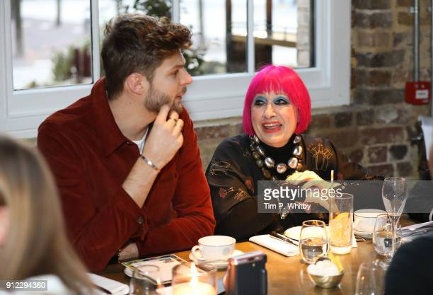 Jim Chapman and Zandra Rhodes attend an afternoon tea event to discuss the upcoming London Fashion Week Festival at Granary Square Brasserie on...