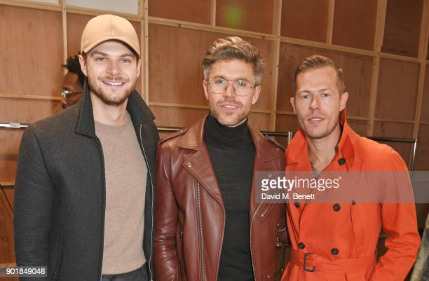 Jim Chapman Darren Kennedy and Gregory Emvy pose backstage at the Oliver Spencer LFWM AW18 Catwalk Show at the BFC Show Space on January 6 2018 in...