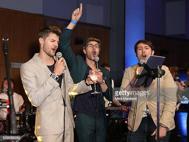 Jim Chapman Darren Kennedy and Nick Carvell perform on stage as GQ and One For The Boys with Swatch host the London Collections Men closing night...
