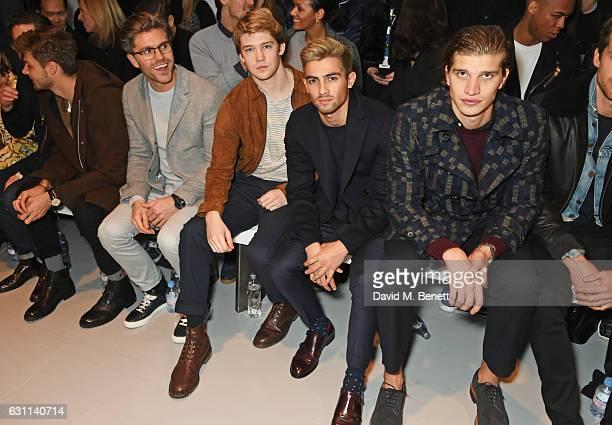 Jim Chapman Darren Kennedy Joe Alwyn Joey London and Toby HuntingtonWhiteley attend the Oliver Spencer AW17 Catwalk Show during London Fashion Week...