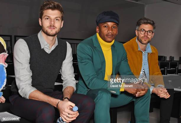 Jim Chapman Eric Underwood and Darren Kennedy attend the Christopher Raeburn show during London Fashion Week Men's January 2018 at BFC Show Space on...