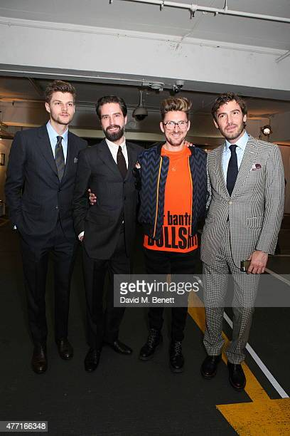 Jim Chapman Jack Guinness Henry Holland and Robert Konjic attend the House of Holland presentation during London Collections Men SS16 on June 14 2015...