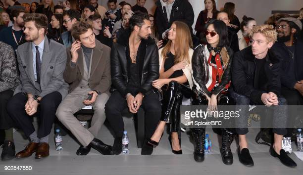 Jim Chapman Oliver Cheshire Hugo Taylor Millie Mackinstosh Betty Bachz and Ben Nordberg attend the Blood Brother show during London Fashion Week...