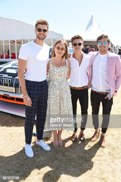 Jim Chapman Tanya Burr Joe Sugg and Byron Langley attend the Audi Polo Challenge at Coworth Park Polo Club on June 30 2018 in Ascot England