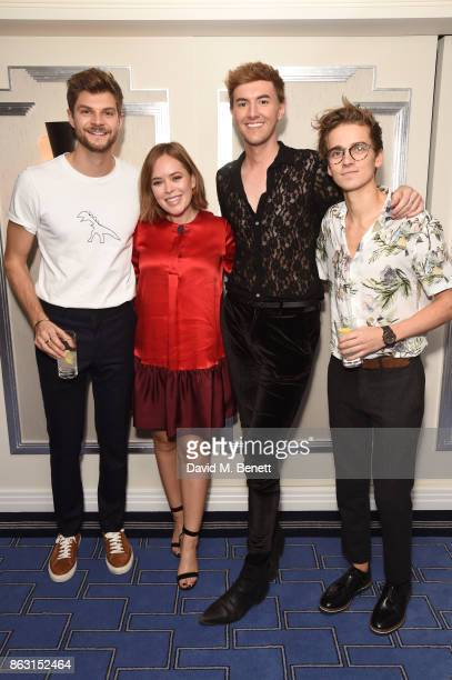 Jim Chapman Tanya Burr Mark Ferris and Joe Sugg attend the launch of Tanya Burr's new book Tanya's Christmas at Claridge's Hotel on October 19 2017...
