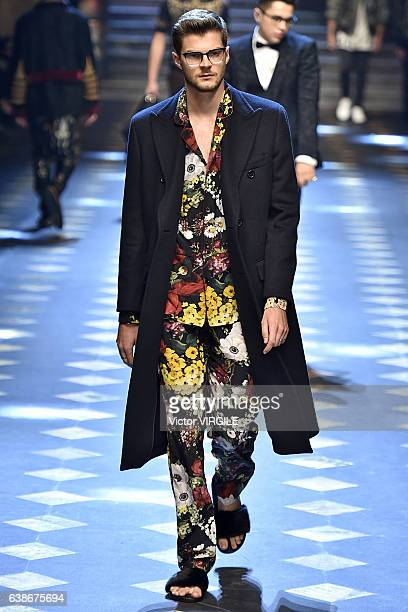 Jim Chapman walks the runway at the Dolce Gabbana show during Milan Men's Fashion Week Fall/Winter 2017/18 on January 14 2017 in Milan Italy