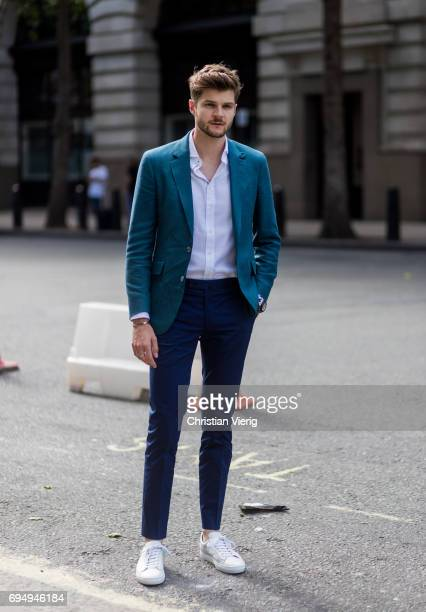 Jim Chapman wearing a blazer during the London Fashion Week Men's June 2017 collections on June 11 2017 in London England