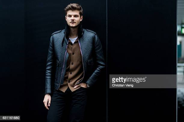 Jim Chapman wearing a leather jacket during London Fashion Week Men's January 2017 collections at Katy Eary on January 7 2017 in London England