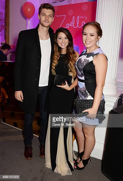 Jim Chapman Zoe Sugg and Tanya Burr attend YouTube phenomenon Zoe Sugg's launch of her debut beauty collection at 41 Portland Place on September 25...
