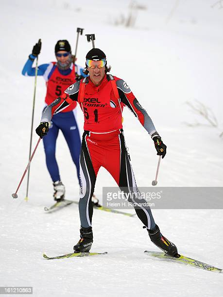 Jim Chiasson #51 is closely followed by competitor Greg Townsend during the first wave of competitors in the Colorado Biathlon State Championships...