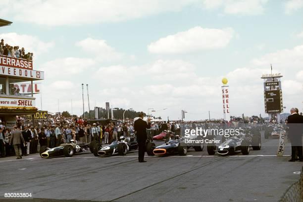 Jim Clark Dennis Hulme Jackie Stewart Dan Gurney LotusFord 49 Brabham BT24 BRM P83 H16 EagleWeslake T1G Grand Prix of Germany Nurburgring 06 August...