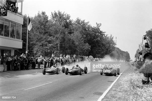 Jim Clark Graham Hill Bruce McLaren LotusClimax 25 BRM P57 Cooper T60 Grand Prix of France RouenLesEssarts 08 July 1962