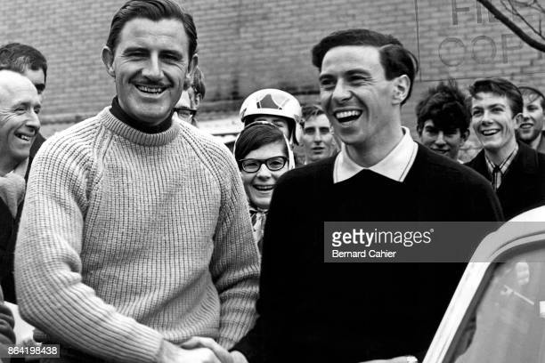 Jim Clark, Graham Hill, Grand Prix of Great Britain, Silverstone Circuit, 10 July 1965. Rivals and friends, Graham Hill and Jim Clark in Silverstone,...