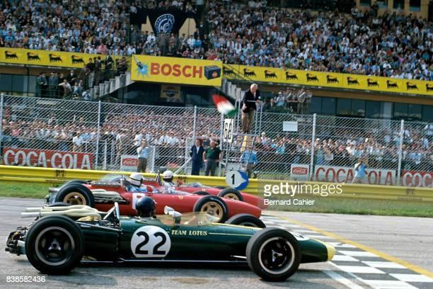 Jim Clark Ludovico Scarfiotti Mike Parkes LotusBRM 43 Ferrari 312 Grand Prix of Italy Monza 04 September 1966