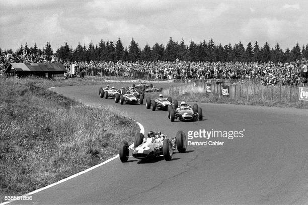 Jim Clark Richie Ginther Tony Maggs Bruce McLaren LotusClimax 25 BRM P57 Cooper T66 Grand Prix of Germany Nurburgring 05 August 1962
