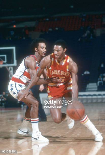 Jim Cleamons of the Cleveland Cavaliers drives on Dave Bing of the Washington Bullets during an NBA basketball game circa 1975 at the Capital Centre...