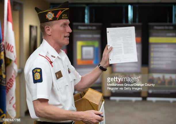 Jim Clements Scout Chairman for VFW Post 6024 in Mission Viejo gets emotional as he prepares to sign Troop 7272's charter application during a...