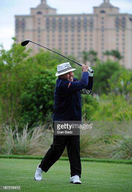 Jim Colbert hits a drive on the fourth hole during the first round of the Demaret Division at the Liberty Mutual Insurance Legends of Golf at The...