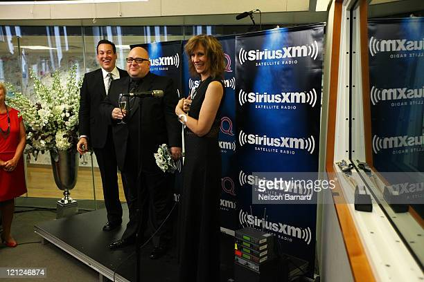 """Jim Colucci, Frank DeCaro and Lizz Winstead at the wedding of Frank DeCaro and Jim Colucci live on air of """"The Frank DeCaro Show"""" on the LGBT channel..."""