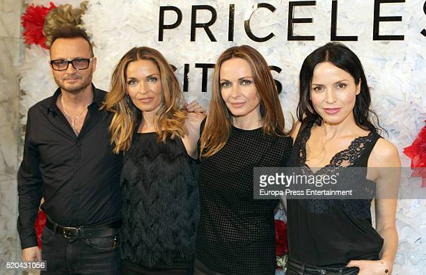 Jim Corr Caroline Corr Sharon Corr and Andrea Corr of The Corrs attend the photocall before offering an acoustic concert on April 8 2016 in Madrid...