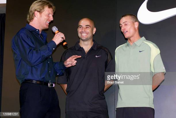 Jim Courier Andre Agassi and Lleyton Hewitt at the NIKETOWNNYC fashion show at New York's City's NikeTown